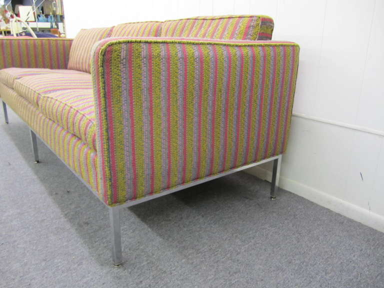 American Fantastic Signed Milo Baughman Chrome Three-Seat Sofa, Mid-Century Modern For Sale