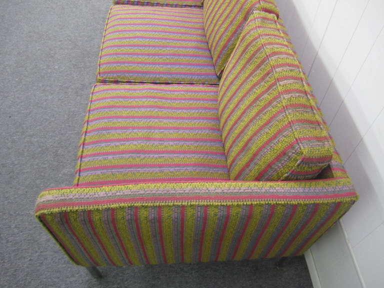 Fantastic Signed Milo Baughman Chrome Three-Seat Sofa, Mid-Century Modern In Good Condition For Sale In Pemberton, NJ
