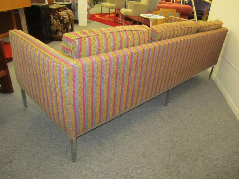 Mid-20th Century Fantastic Signed Milo Baughman Chrome Three-Seat Sofa, Mid-Century Modern For Sale