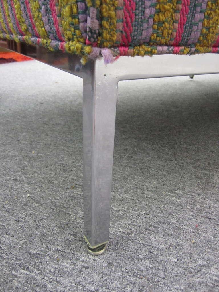 Fantastic Signed Milo Baughman Chrome Three-Seat Sofa, Mid-Century Modern For Sale 1