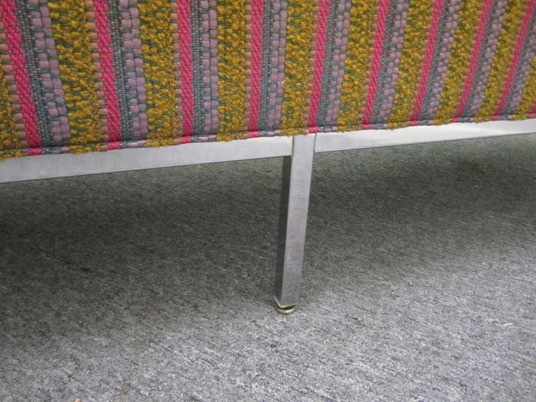 Steel Fantastic Signed Milo Baughman Chrome Three-Seat Sofa, Mid-Century Modern For Sale