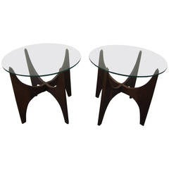 Lovely Pair of Sculptural Walnut Adrian Pearsall End Tables Mid-Century Modern