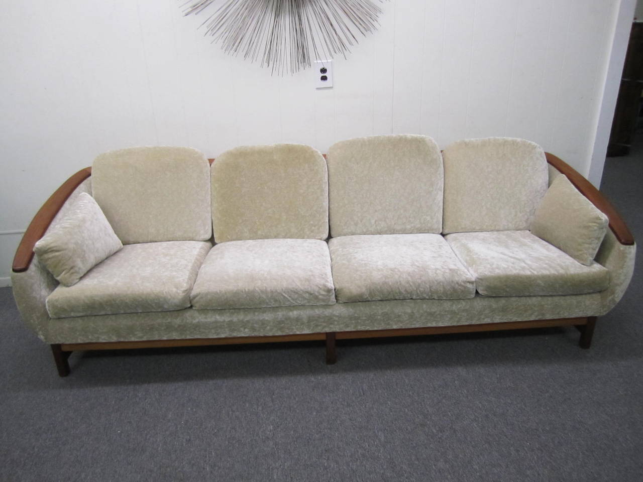 Mid Century Modern Dazzling R. Huber Curved Back Teak Sofa, Mid Century