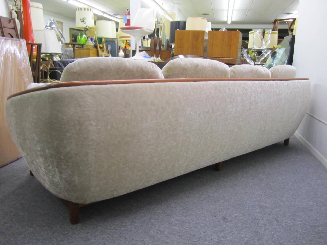 Canadian Dazzling R. Huber Curved Back Teak Sofa, Mid-Century Danish Modern For Sale