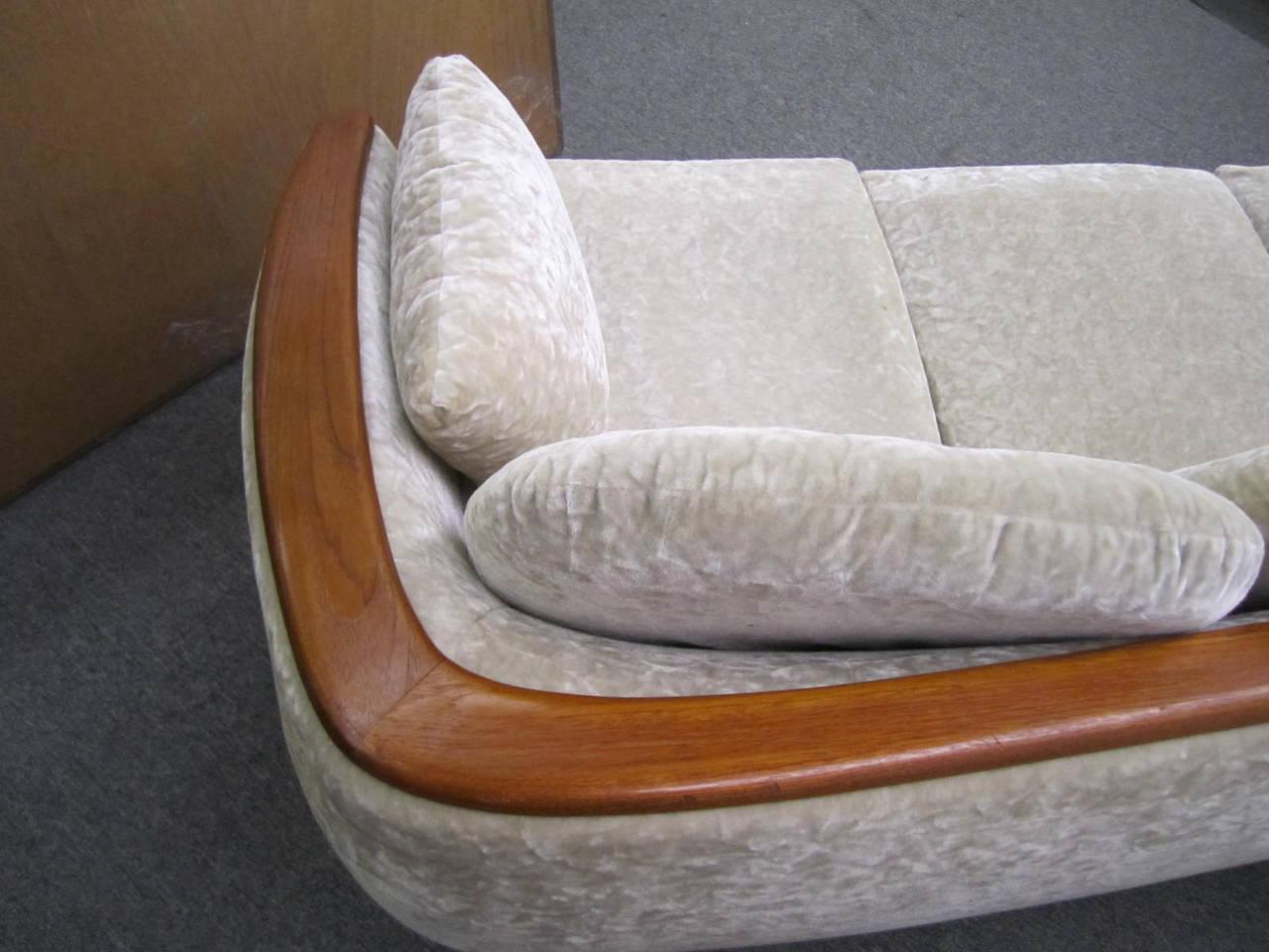 Upholstery Dazzling R. Huber Curved Back Teak Sofa, Mid-Century Danish Modern For Sale