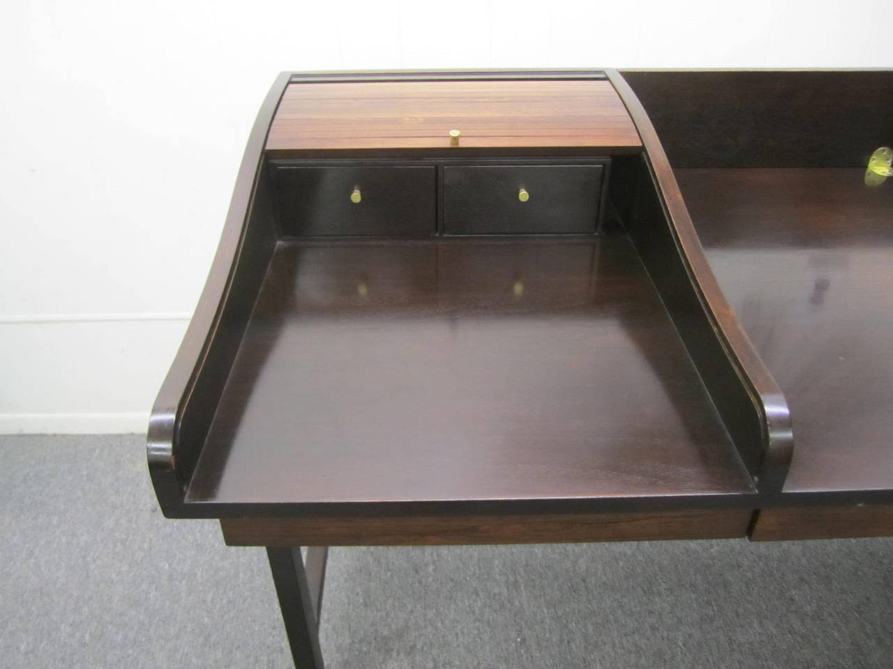 Brass Excellent Rosewood Roll Top Desk by Edward Wormley for Dunbar Mid-Century Modern For Sale