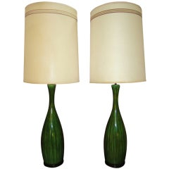 Gorgeous Extra Tall Green Drip Glazed Lamp Mid-century Danish