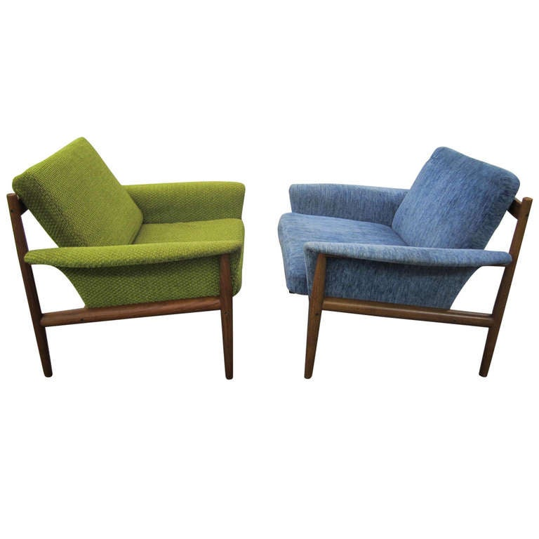 Outstanding Pair Of Greta Jalk Teak Lounge Chairs, Mid Century Danish  Modern For Sale