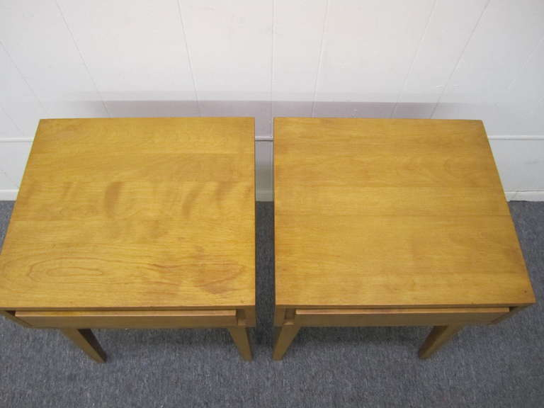 Fabulous Pair Solid Maple Conant Ball Night Stand End Tables Mid ...