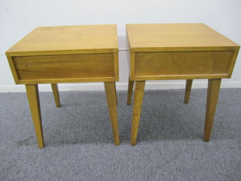 Fabulous Pair Solid Maple Conant Ball Night Stand End Tables Mid Century  Modern In Good