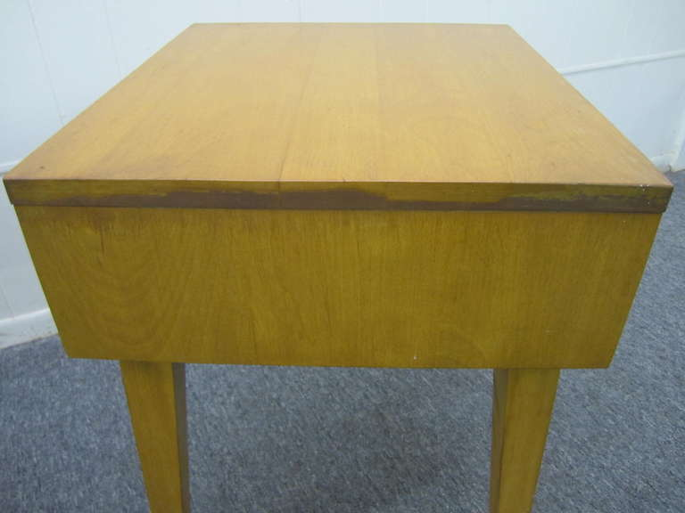 Fabulous Pair Solid Maple Conant Ball Night Stand End