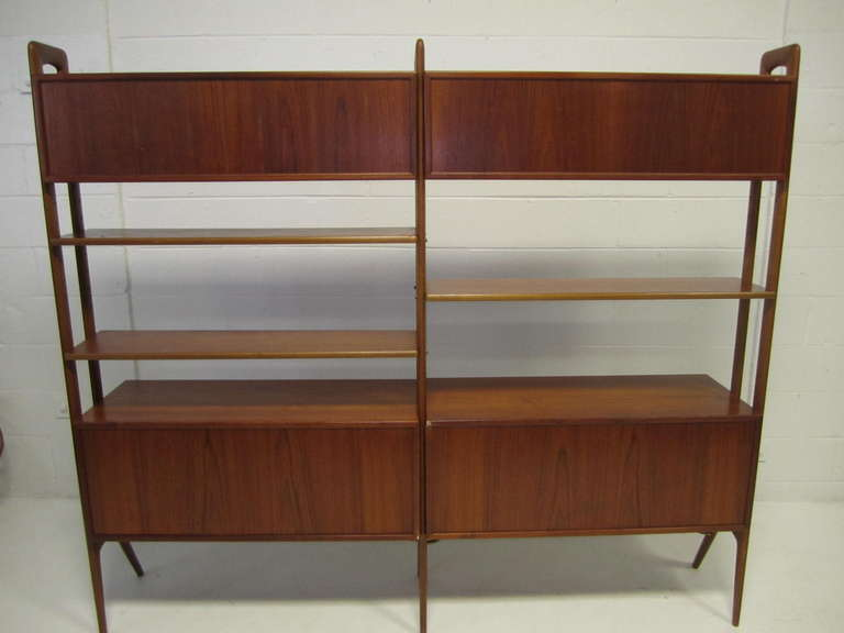 danish modern two section teak room divider wall system by