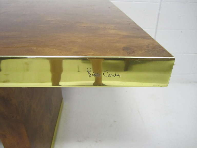 Handsome Burl And Brass Dining Table By Pierre Cardin, Circa 1970u0027s. Book  Matched Olive
