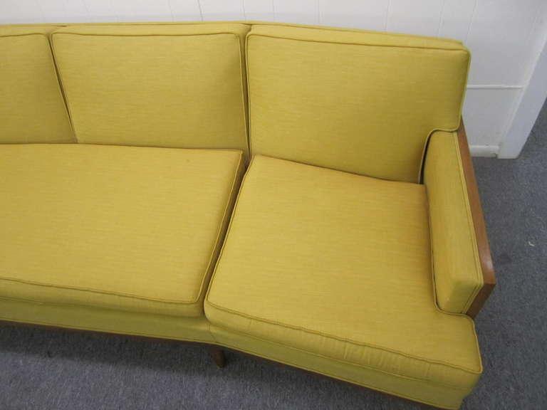 Sophisticated Erwin Lambeth Curved Walnut Sofa Mid Century