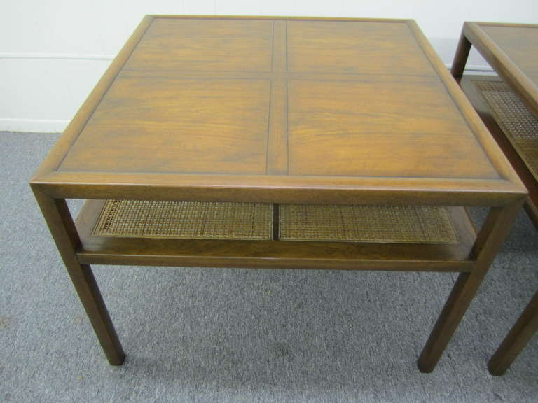A Sophisticated Pair Of Walnut Side Table With Fine Woven Cane Shelf. One  Of A