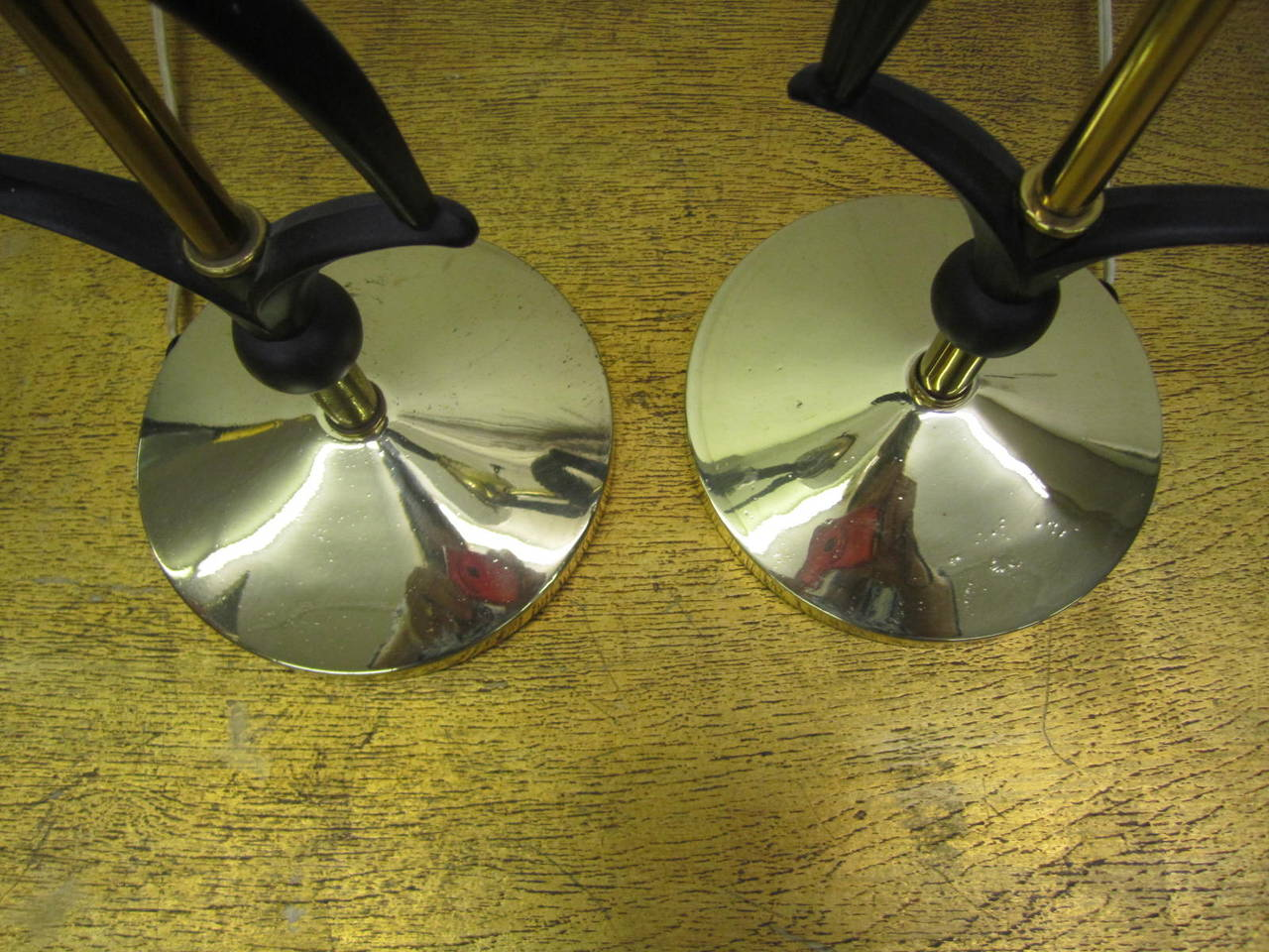 Metal Pair of Rembrandt Antelope Gazelle Lamps with Glass Shades Mid-Century Modern For Sale