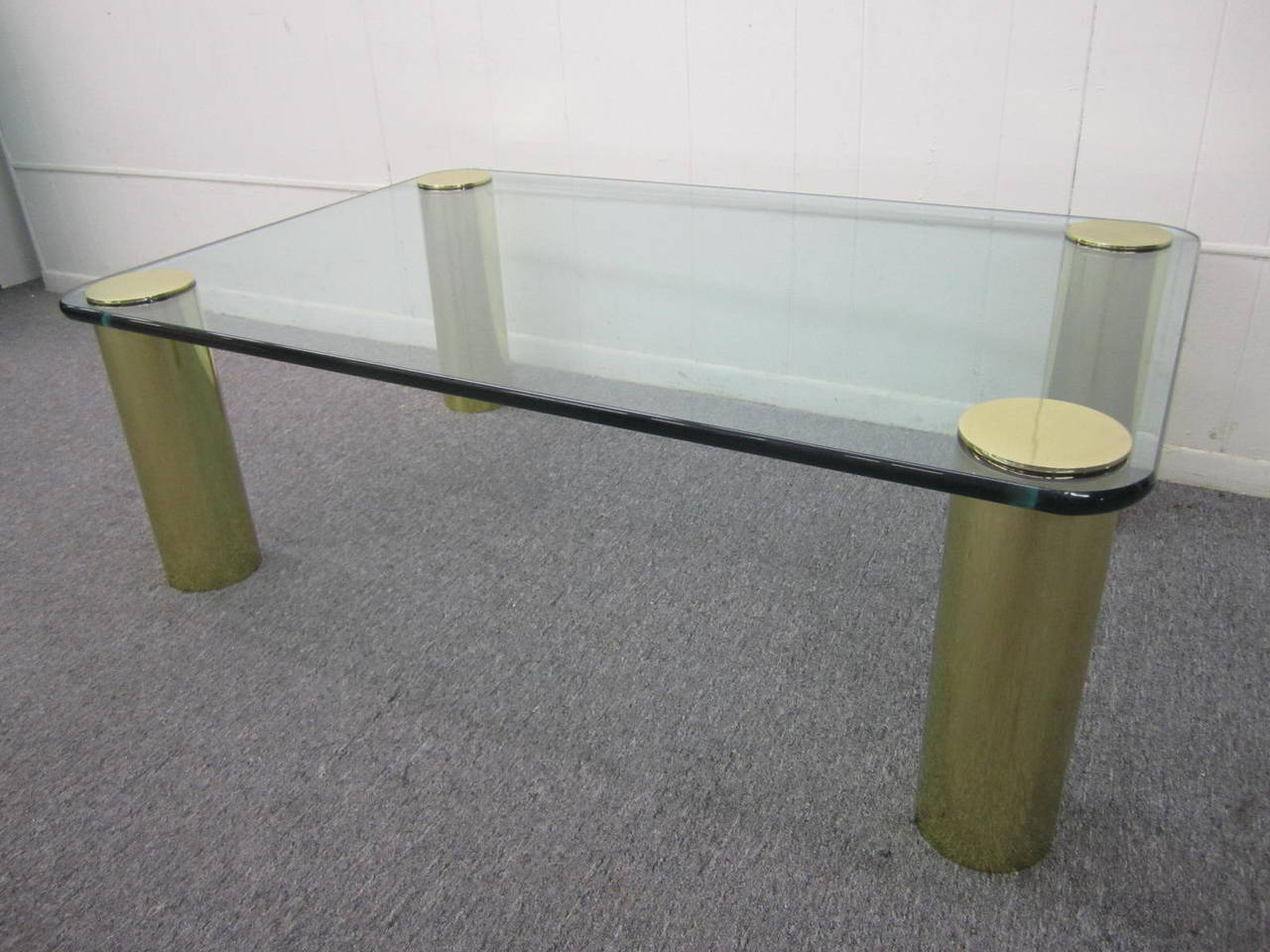 Fabulous Pace Collection chunky brass cylinder leg table. The legs have been freshly cleaned and polished and look mint.