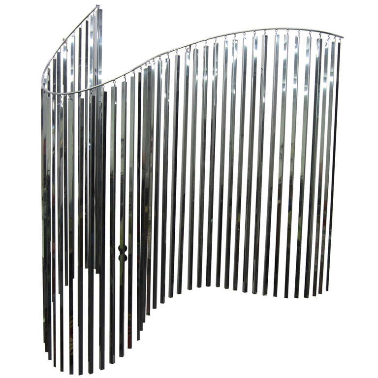 Amazing Signed C Jere Kinetic Wave Wall Sculpture Chrome Mid-Century