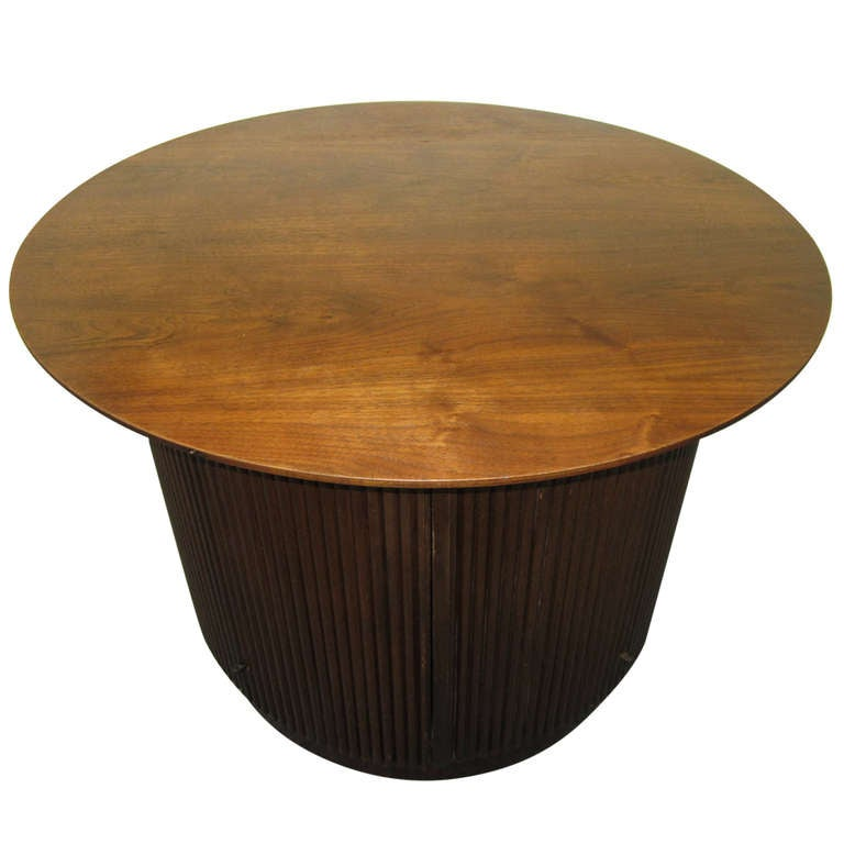 Lovely Lane Walnut Ribbed Drum Side Table With Doors Mid