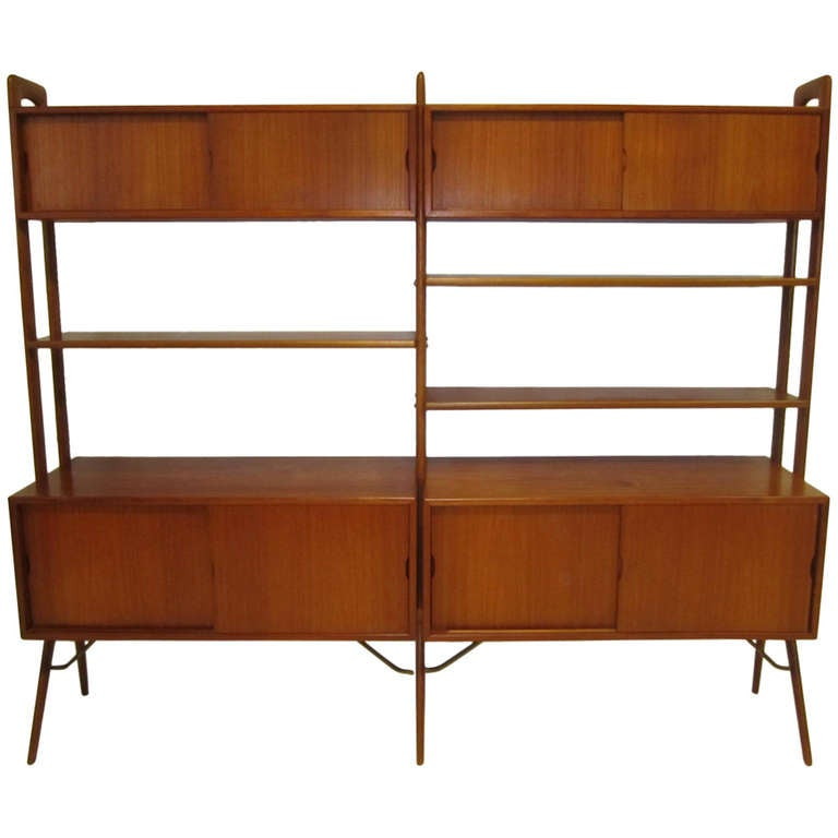 danish modern 2 section teak room divider wall system by