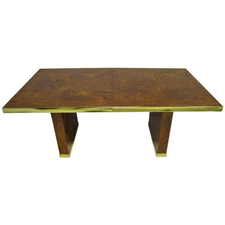 Spectacular Burled and Brass Dining Table by Pierre Cardin Mid-century Modern