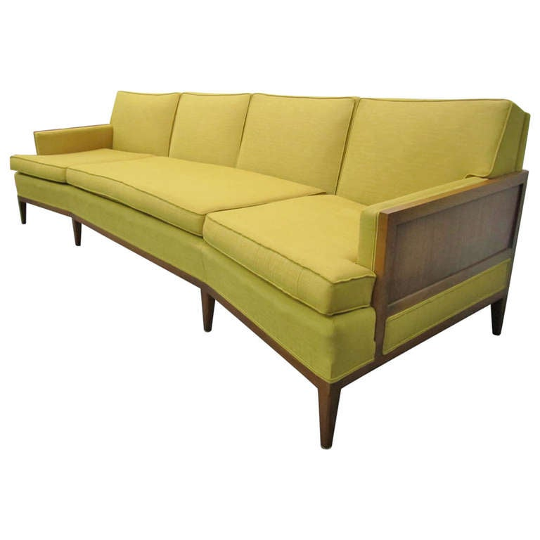 Sophisticated erwin lambeth curved walnut sofa mid century for Modern sofas for sale