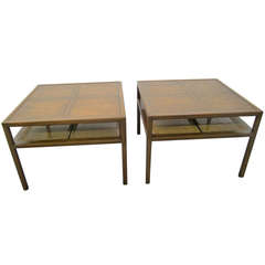 Stunning Pair Michael Taylor Baker Square Walnut and Caned Side Tables
