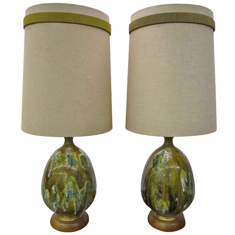 Awesome Huge Pair Of Green Thick Drip Glaze Lamps Mid