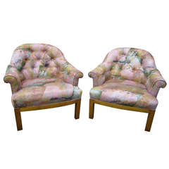 Spectacular Pair of Mid-Century Modern Barrel Back Club Chairs, Asian Influenced