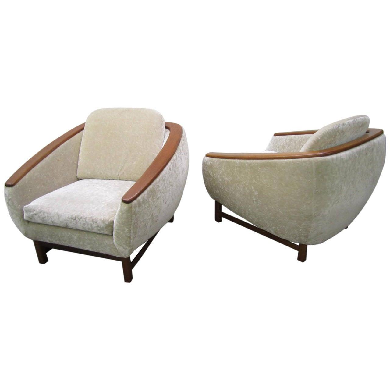pair of midcentury modern huber teakarm lounge chairs for sale  - pair of midcentury modern huber teakarm lounge chairs