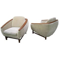 Pair of Mid-Century Modern Huber Teak-Arm Lounge Chairs