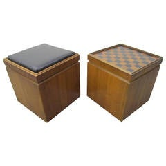 Pair of Lane Walnut Game Cube Storage Stools, Mid-Century Modern
