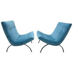 Outstanding Pair of Milo Baughman Scoop Lounge Chairs, Mid-Century Modern