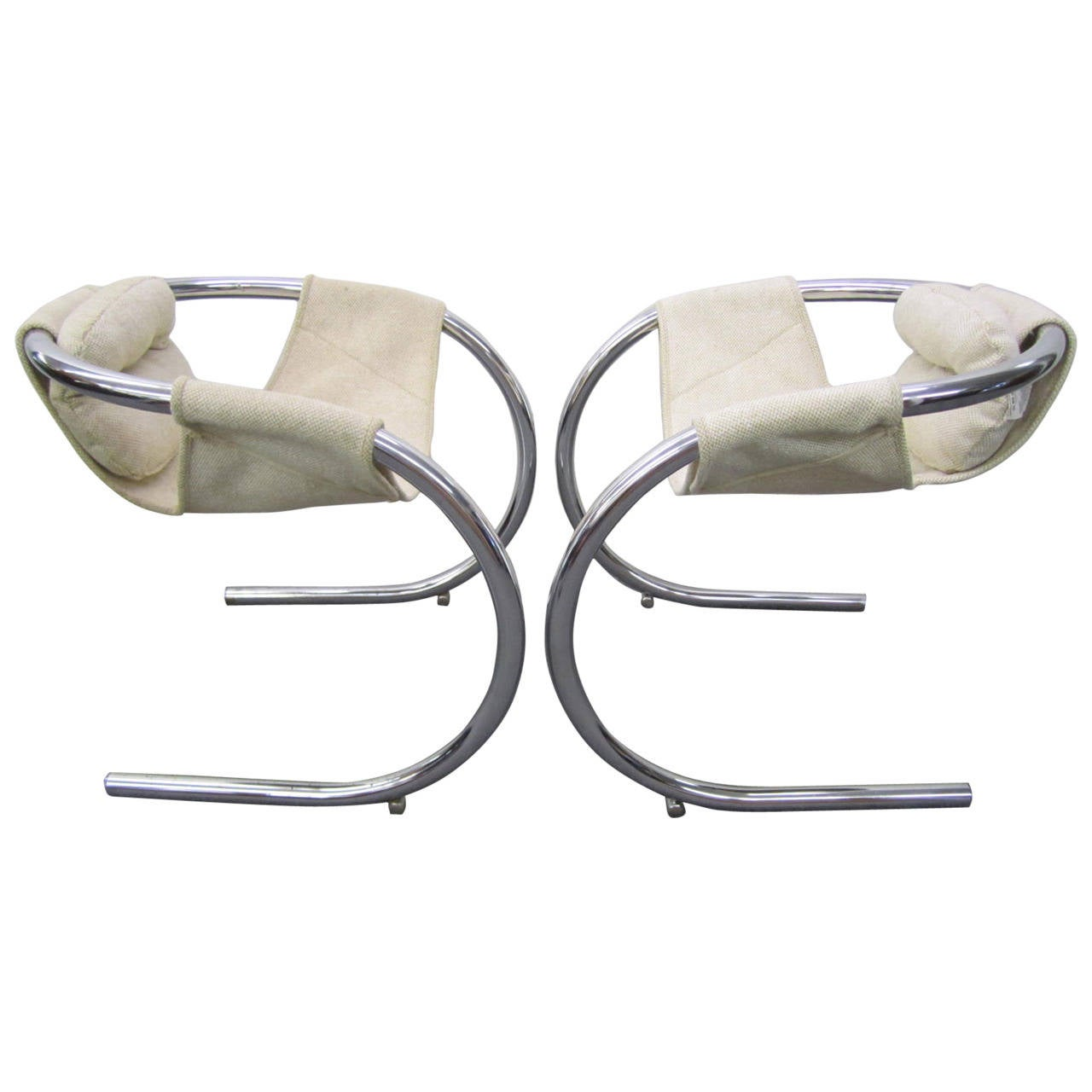 Pair of Mid-Century Modern Chrome Chairs by Bryon Botker for Landes
