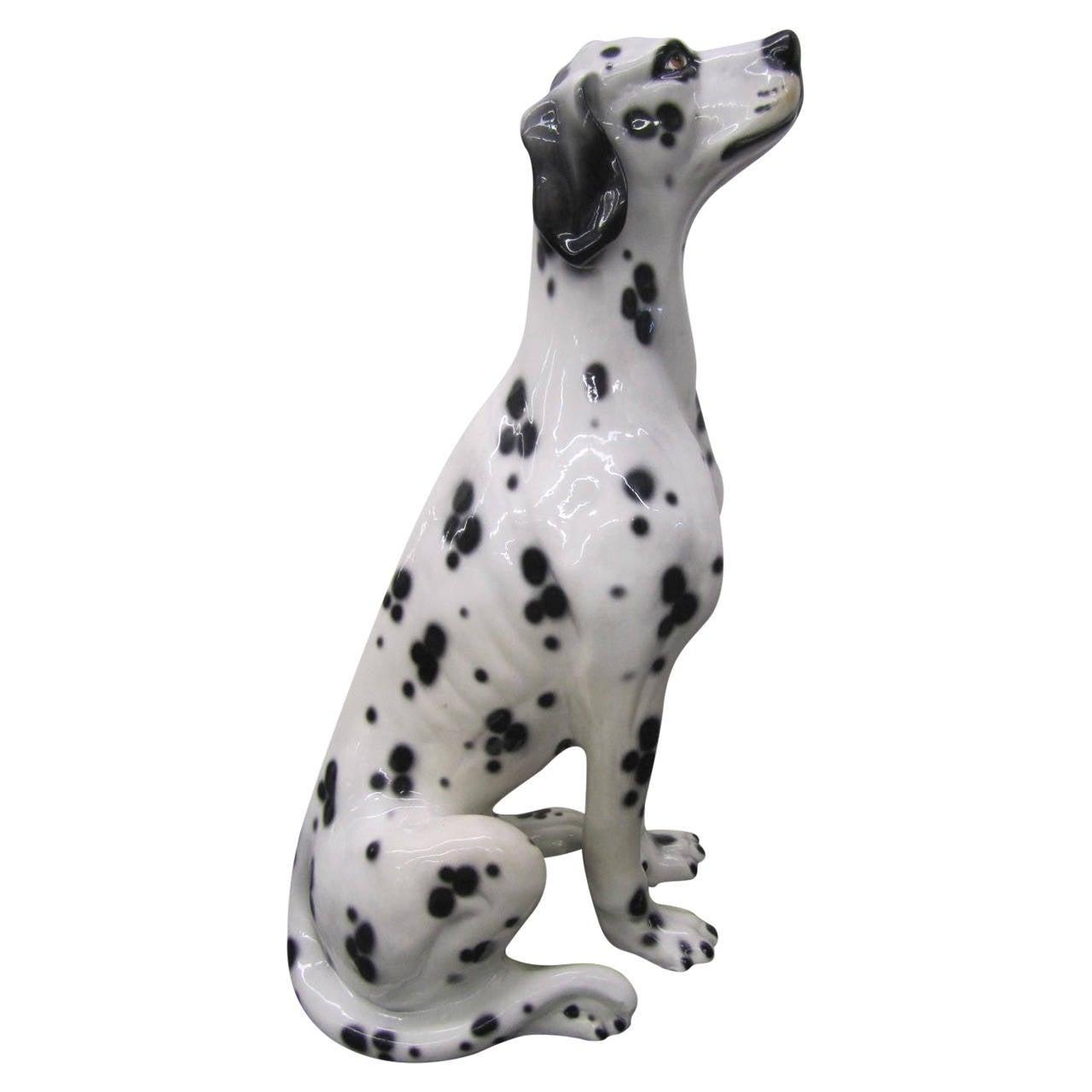 Whimsical Lifesize Capodimonte Dalmatian Dog Ceramic