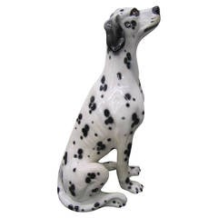 Whimsical Lifesize Capodimonte Dalmatian Dog Ceramic Sculpture