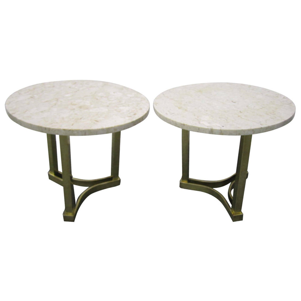 Terrific Pair Of Solid Brass And Marble Side End Tables