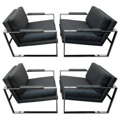 Awesome Set of Four Milo Baughman Style Chrome Cube Chairs Mid-Century Modern
