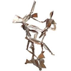 Signed Brutalist Sculpture Of 3 Dancers Mid-century Modern