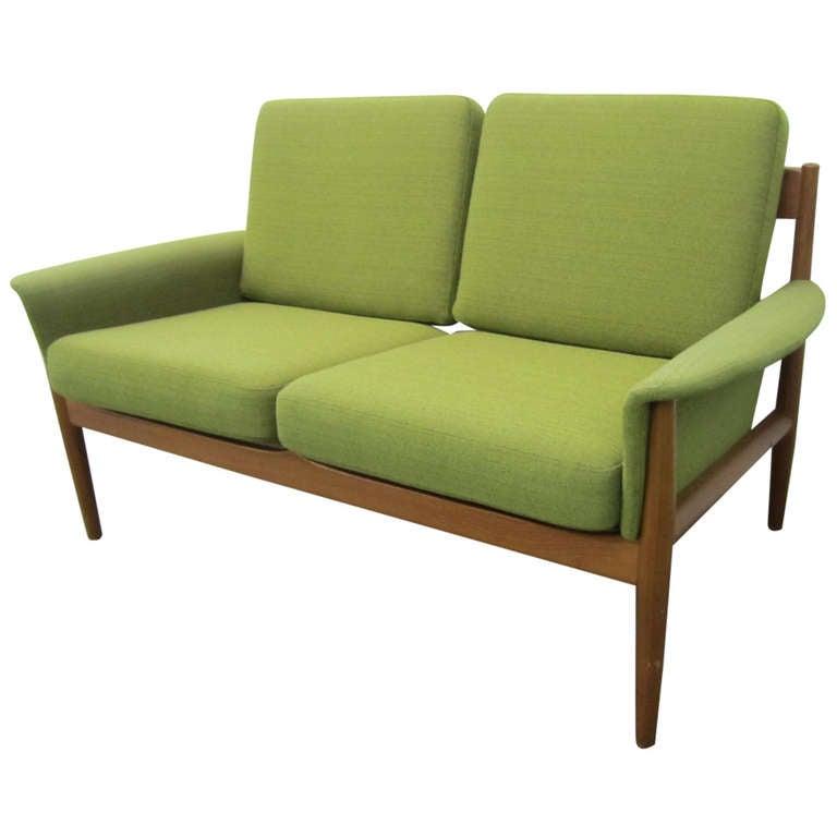 Excellent greta jalk danish modern teak love seat settee for Danish modern settee