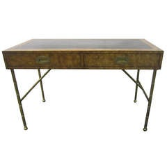 Gorgeous Widdicomb Style Burled Walnut Campaign Desk Faux Bamboo Solid Brass