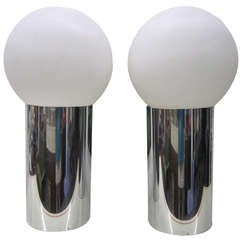 Large Scale Pair of Sonneman Chrome Ball lamps Panton style Mid-century Modern