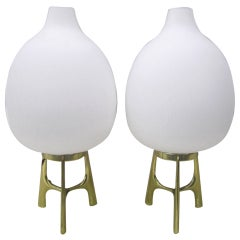 Outstanding and Rare Pair of Large Gourd Shaped Laurel Lamps Mid-century Modern