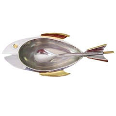 Fantastic Fish Shaped Stainless Steel and Brass Candy Dish Serving Plate