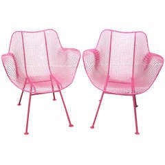 Fun Pair of Pink Woodard Mesh Sculptra Patio Chairs Mid-century Modern