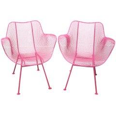 Fun Pair of Pink Woodard Mesh Sculptra Patio Chairs Mid-century Modern