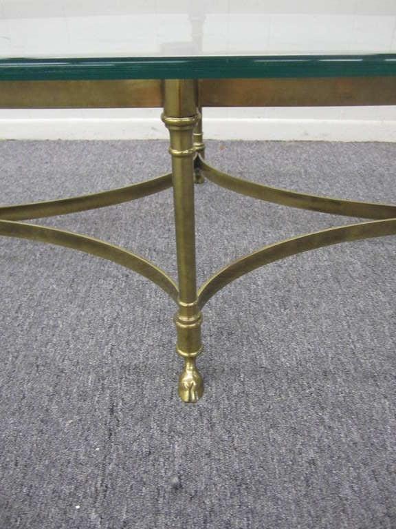 Brass And Heavy Glass Oval Hoof Foot Coffee Table Regency