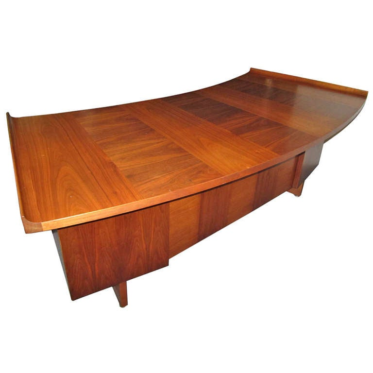 Harvey Probber Curved Top Walnut Desk Mid-Century Danish Modern For Sale