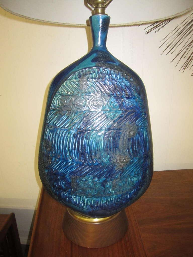 Outstanding Tall Rimini Blue Pottery Lamp Bitossi Raymor