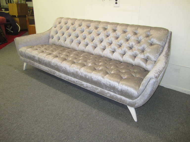 Amazing Totally Red And Restyled Regency Modern Tufted Sofa Ohhh Is What You Will Say